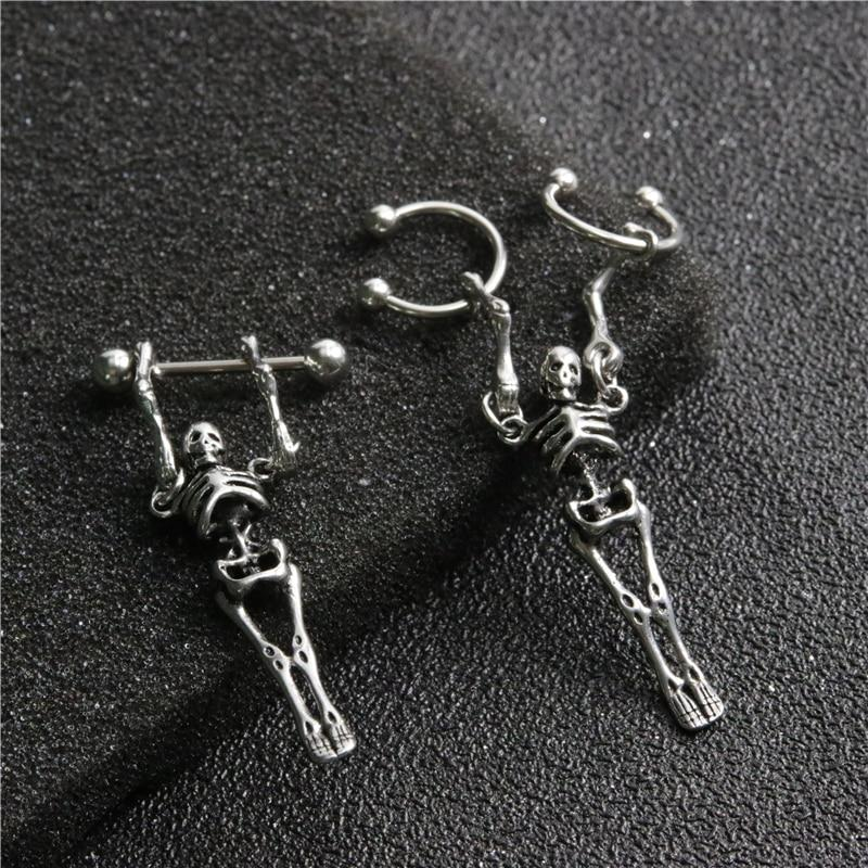 Punk Gothic Stainless Steel Skull Earrings