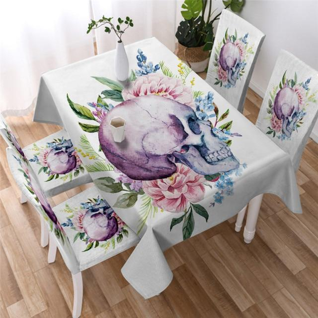 Watercolor Floral Skull Washable Table Cover