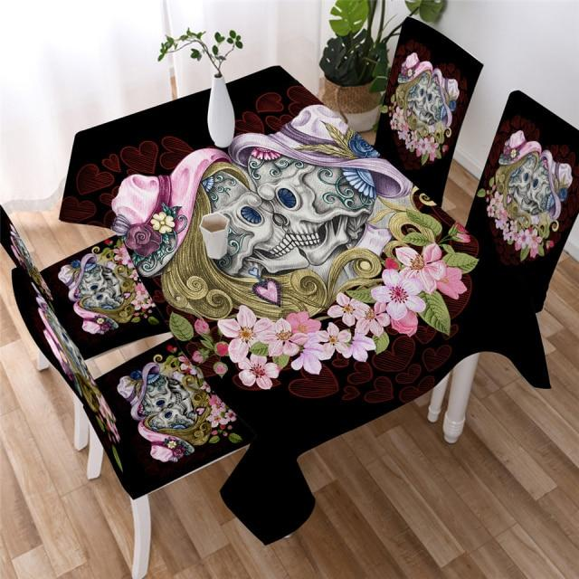 Floral Couple Skull Washable Table Cover