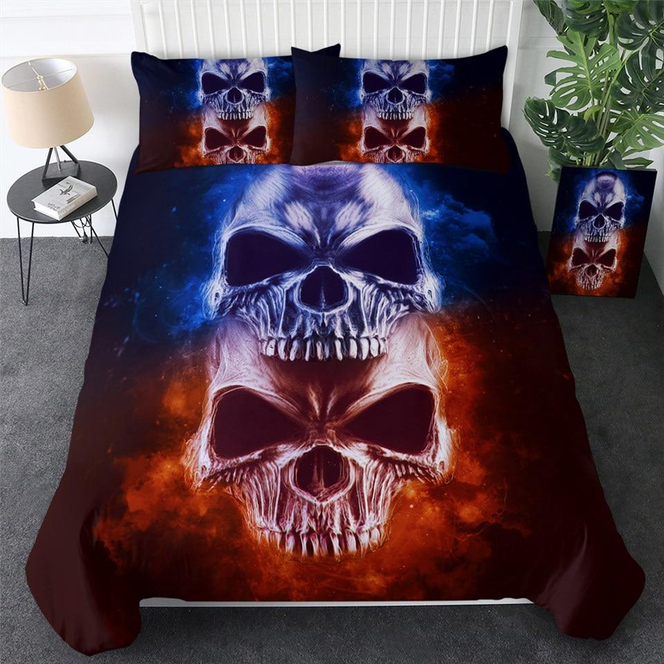 Fire and Ice Skull Bedding Set