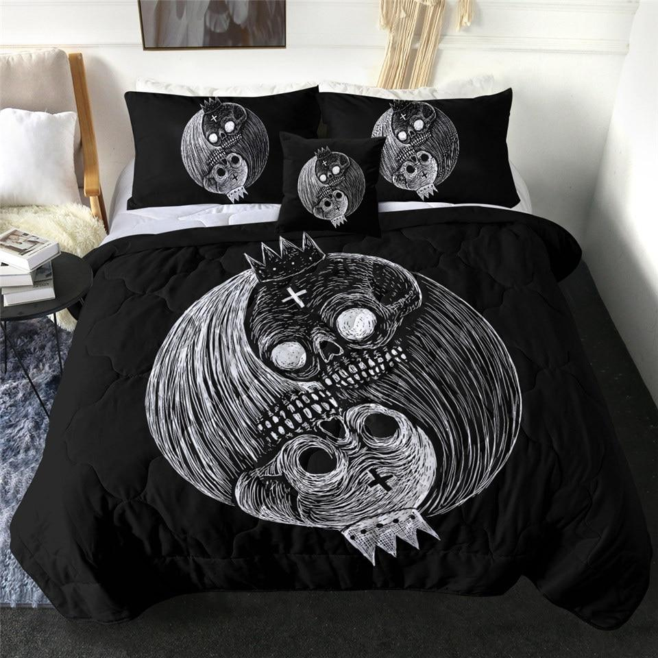 Yin Yang King Skull Quilt Bedding Set