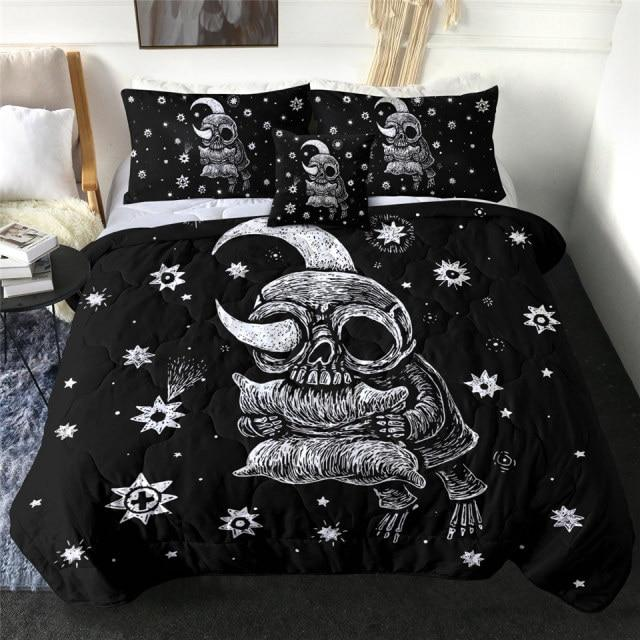 Crescent Moon Skull Quilt Bedding Set