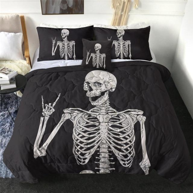Rock n Roll Skeleton Quilt Bedding Set