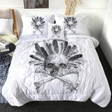 Skull and Bones with Indian Feather Quilt Bedding Set