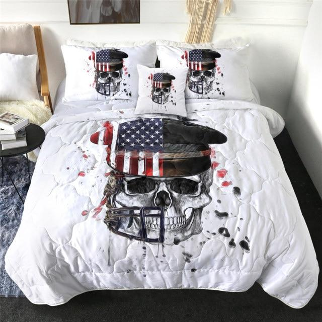 Captain Skull with American Flag Quilt Bedding Set