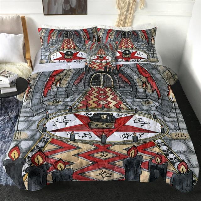 Fiery Tenebrous Gothic Pagan Quilt Bedding Set