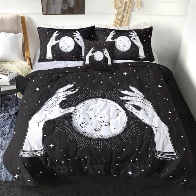 Full Moon with Rays of Light Quilt Bedding Set