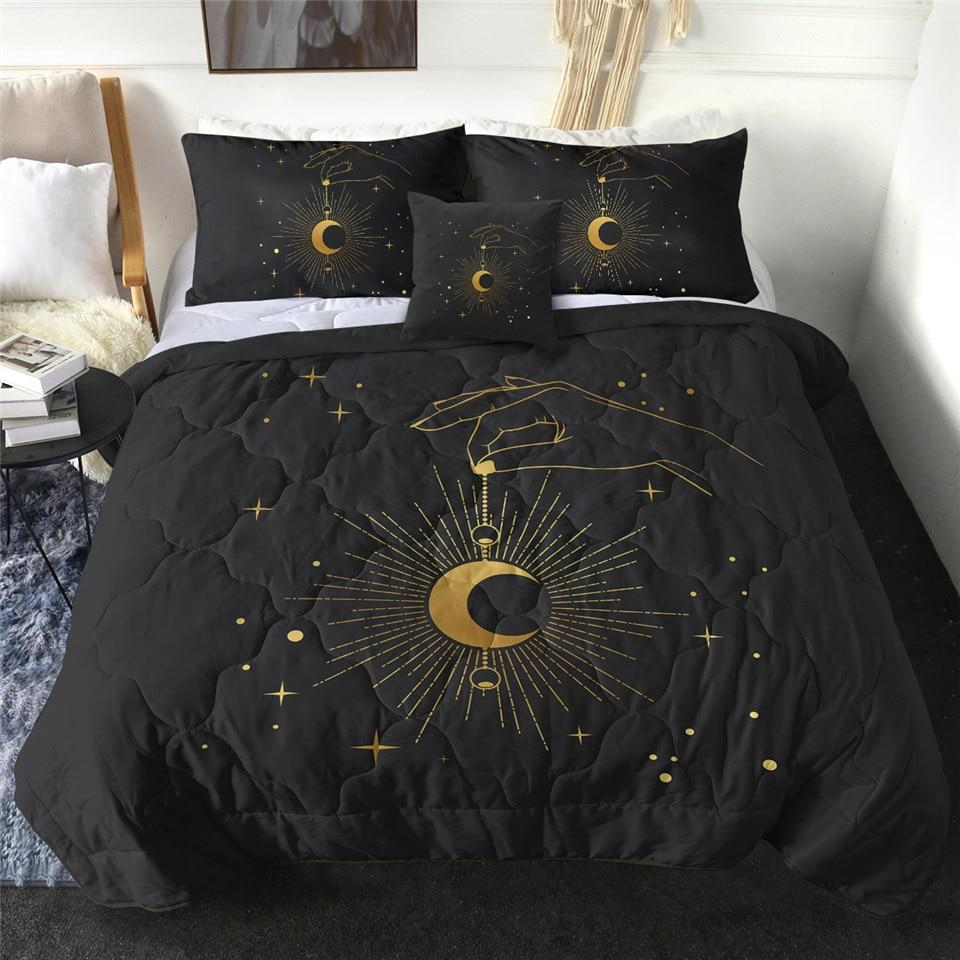 Mystical Celestial Moon Quilt Bedding Set