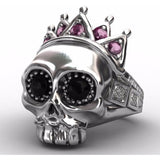 Pink Crown Biker Skull Ring - Skullflow