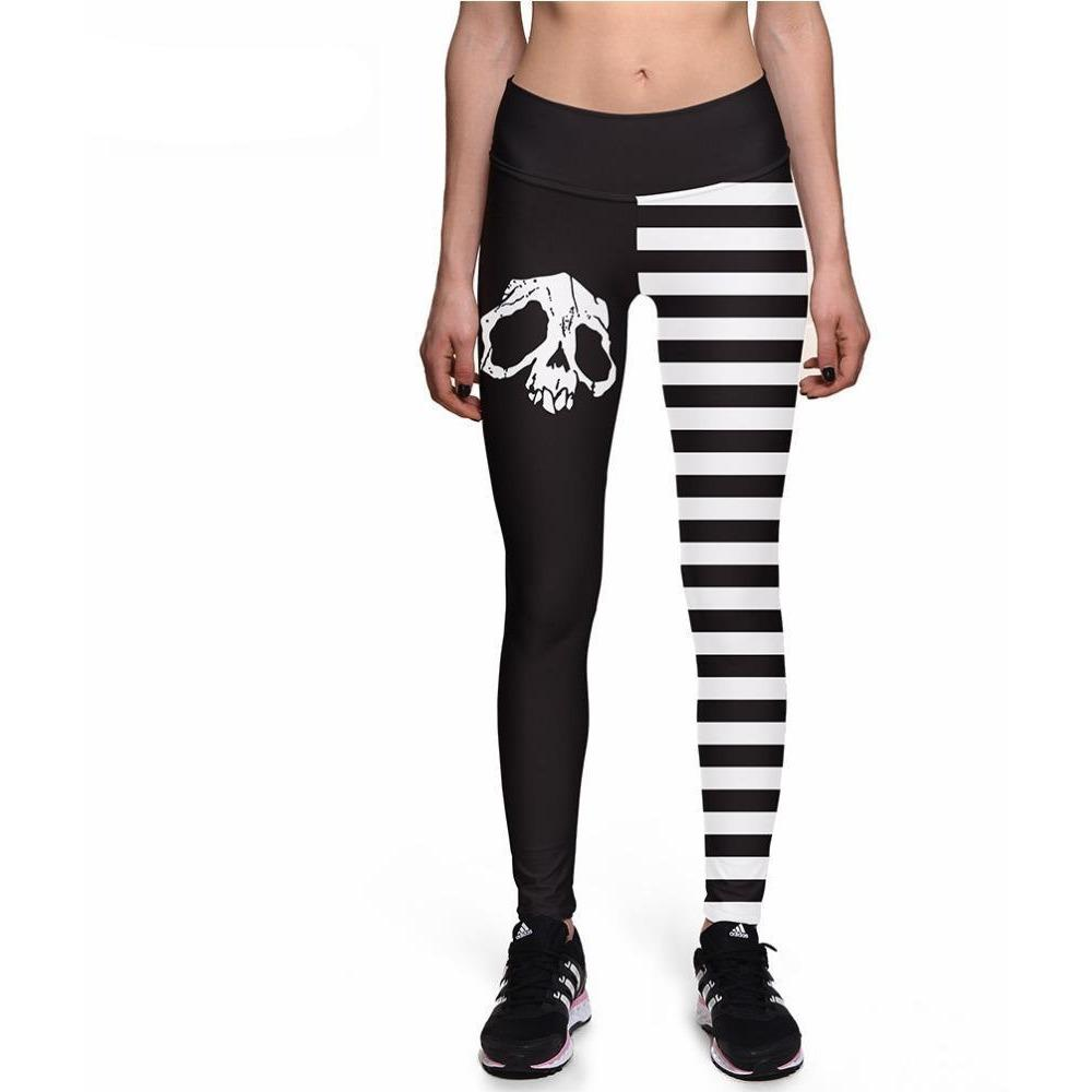 Skull Striped High Waist Leggings - Skullflow