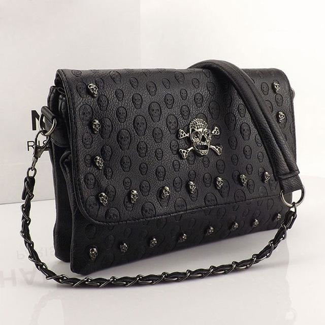 Vintage Skull Rivet Crossbody Bag - Skullflow