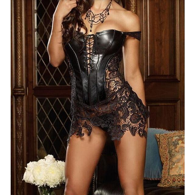 Gothic Faux Leather & Lace Corset Bustier Dress - Skullflow