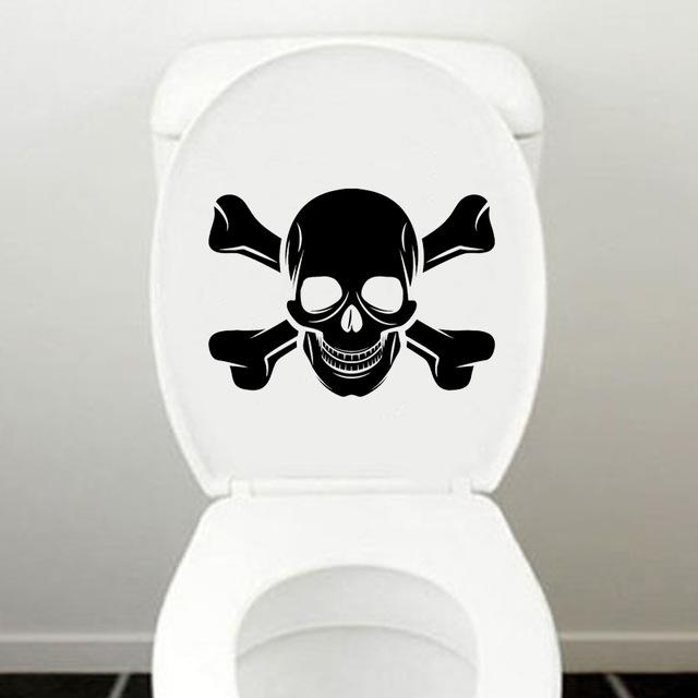 Pirate Skull Bones Bathroom Toilet Sticker Decor - Skullflow