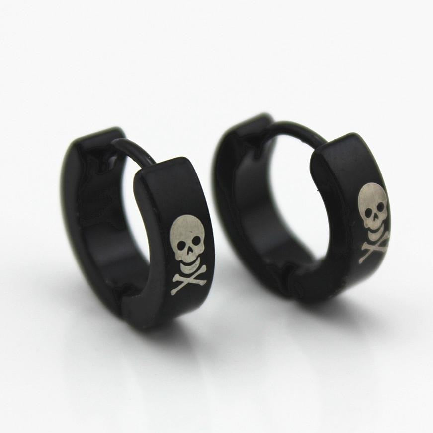 Black Titanium Skull Hoop Earrings - Skullflow