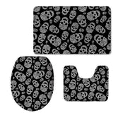 Cartoon Skull Toilet Seat Cover and Bathroom Rug Set - Skullflow