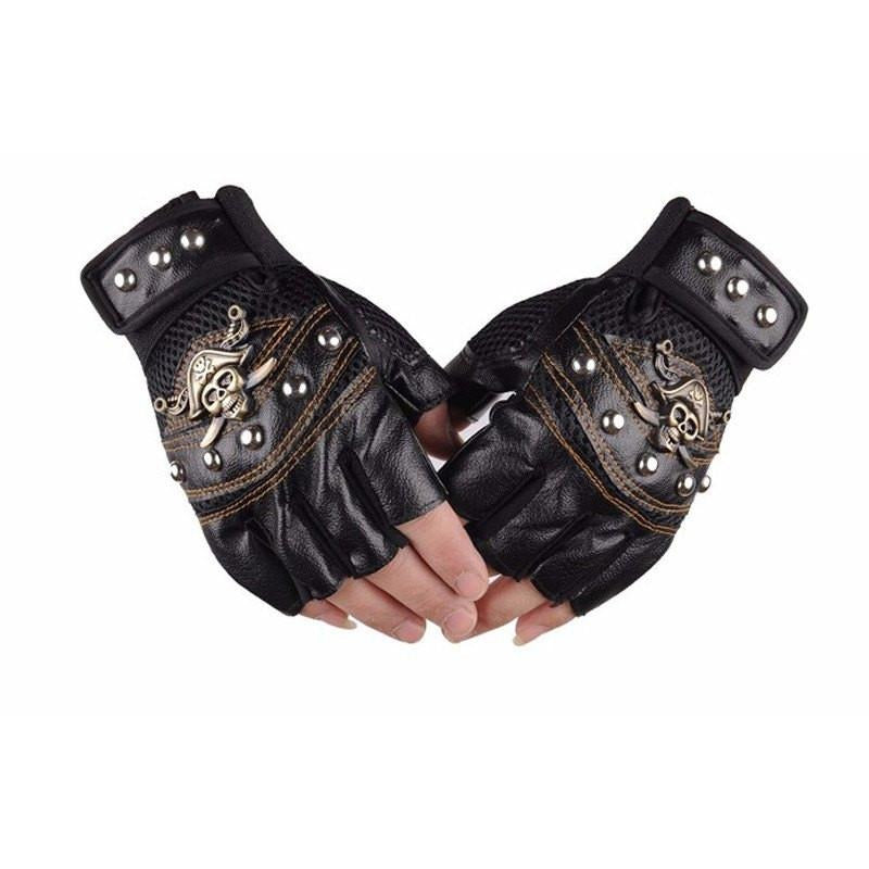 Motorcycle Leather Skull Gloves - Skullflow