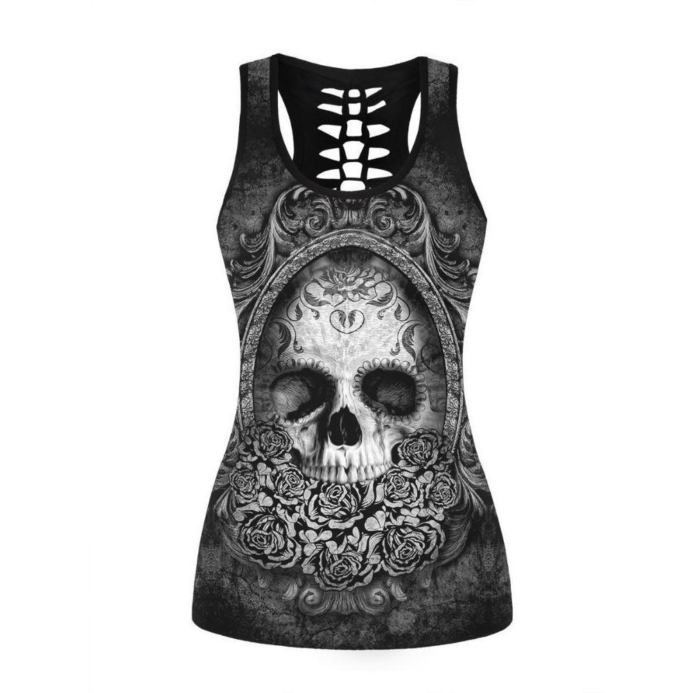 Skull Print Hollow Out Back Tank Top - Skullflow