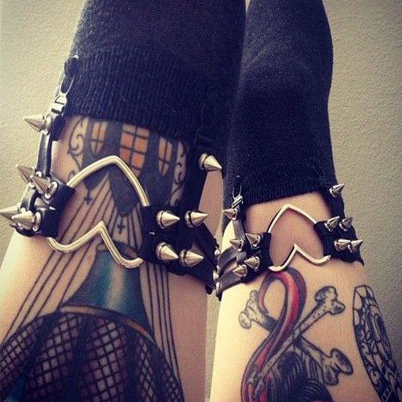 Punk Heart Rivet Thigh Belt Garter - Skullflow
