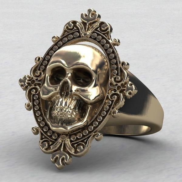 Charming Ancient Gold Skull Biker Ring - Skullflow
