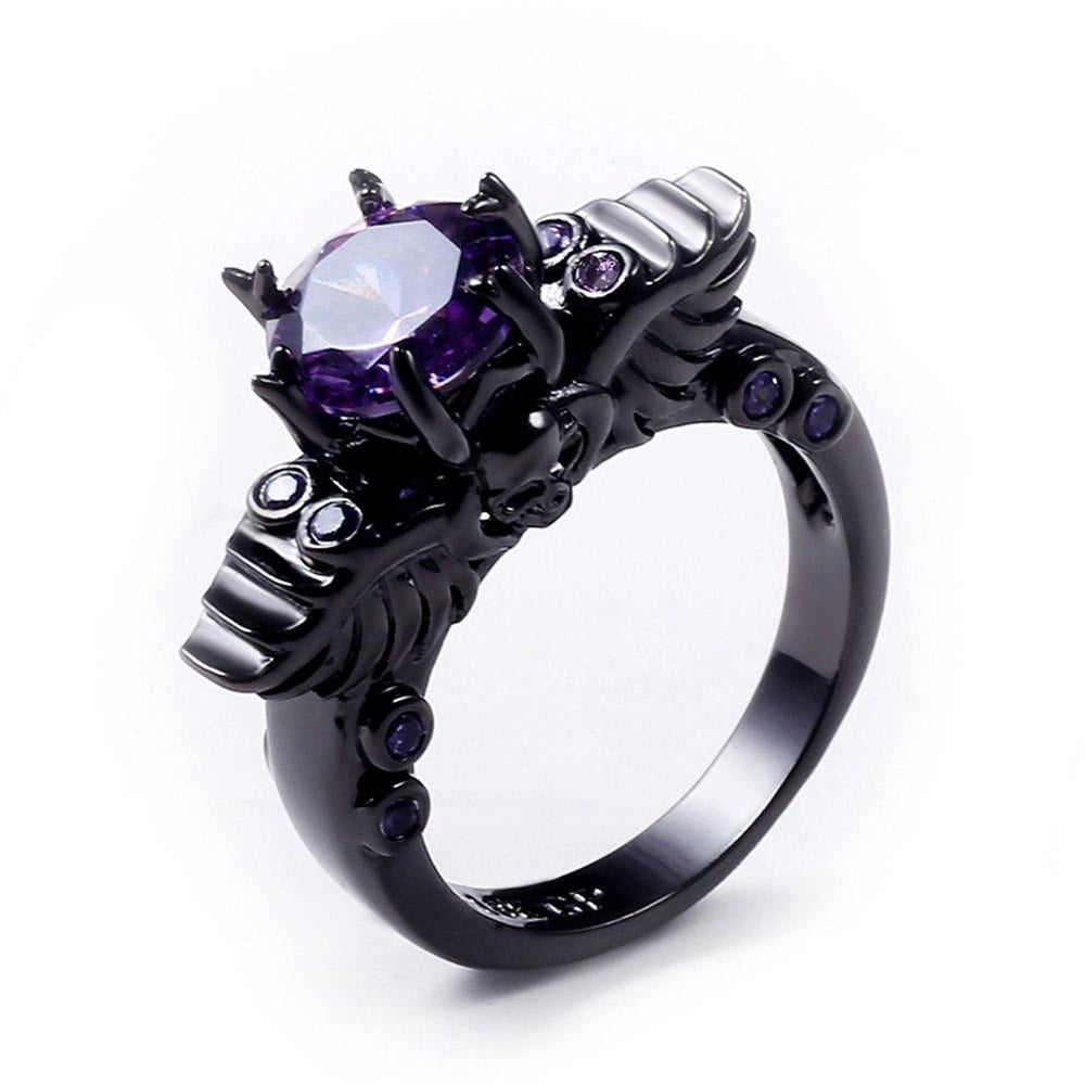 Elegant Purple Black Gold Filled Ring - Skullflow