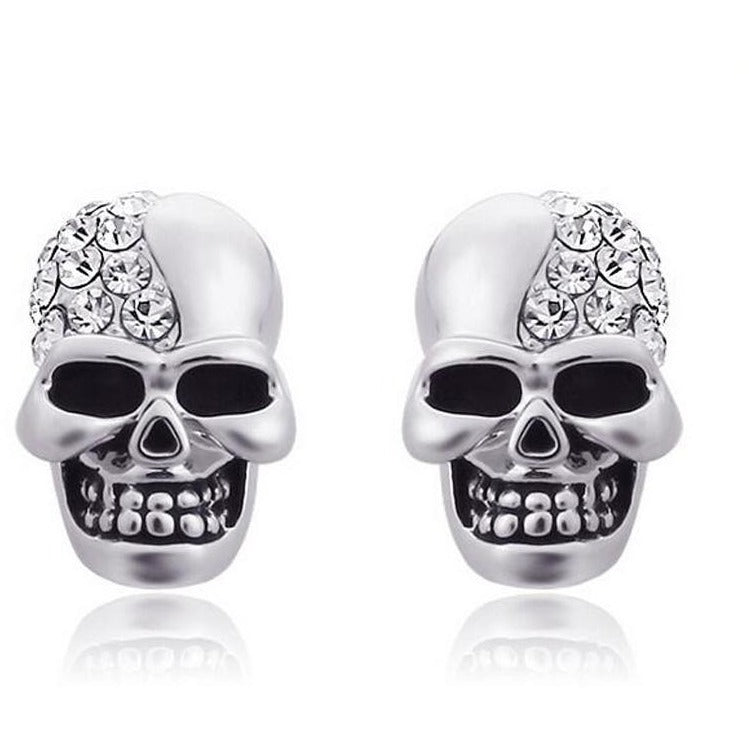 White Skeleton Crystal Earrings - Skullflow