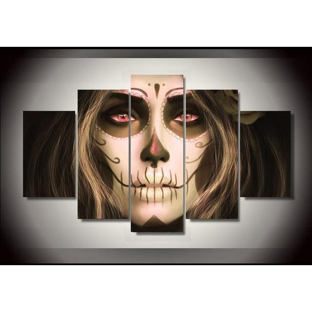 Sugar Skull Girl Makeup Rose Red Eyes Canvas Wall Art - Skullflow