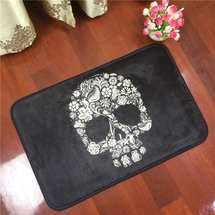 Floral Skull Anti-slip Black Carpet - Skullflow