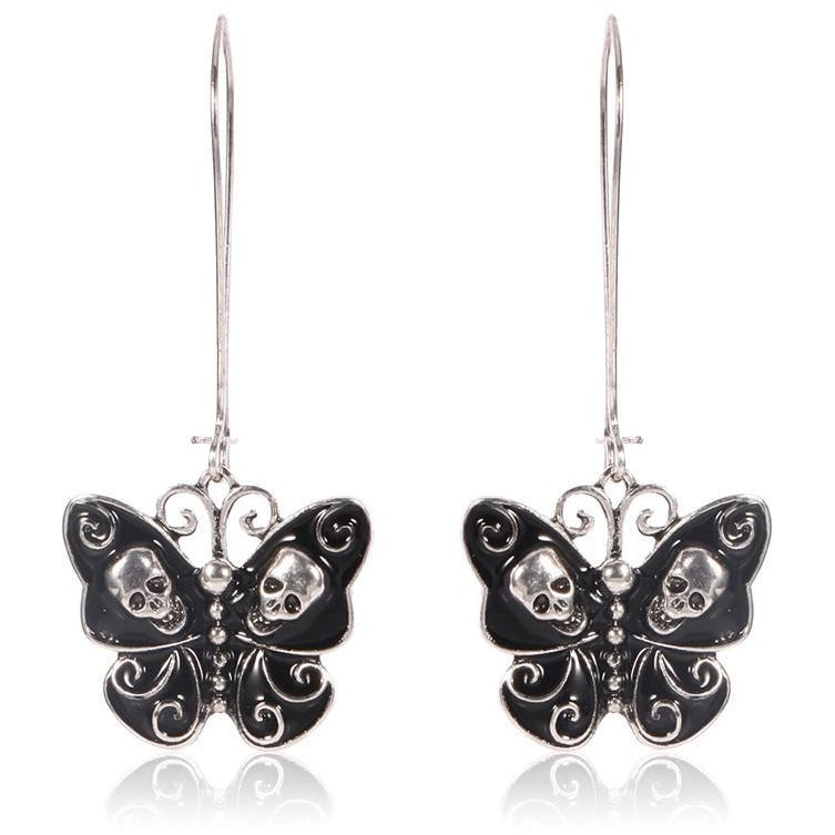Gothic Butterfly Skull Dangle Earrings - Skullflow