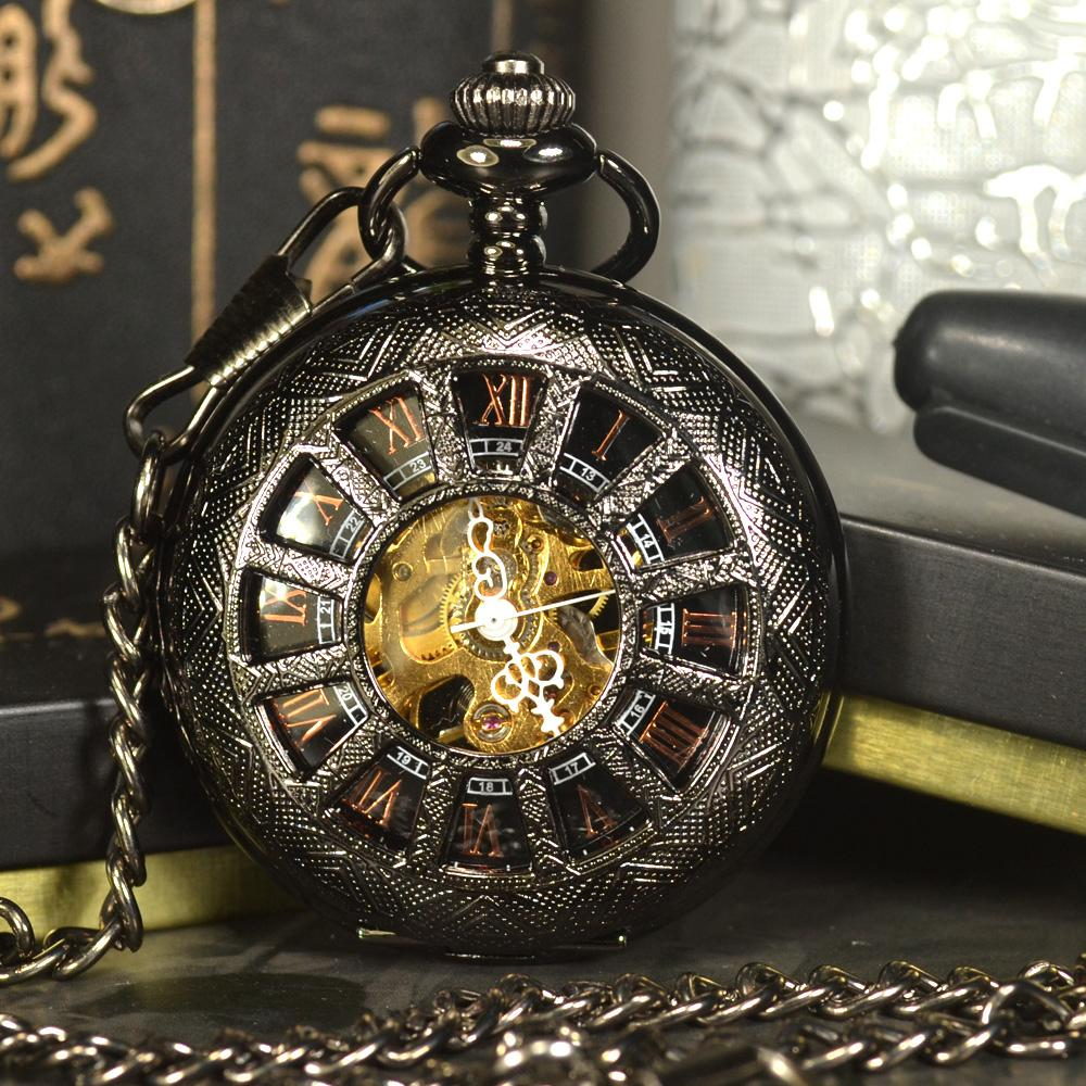 Black Steampunk Mechanical Pocket & Fob Watch