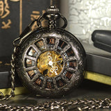 Black Steampunk Mechanical Pocket & Fob Watch - Skullflow