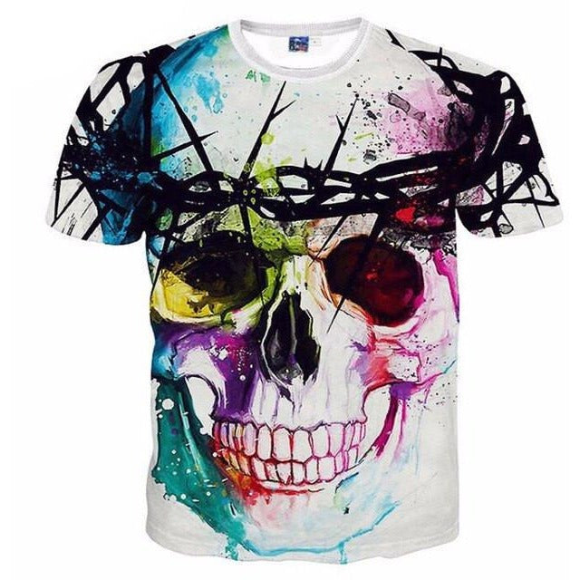 3D Colorful Skull T-shirt - Skullflow
