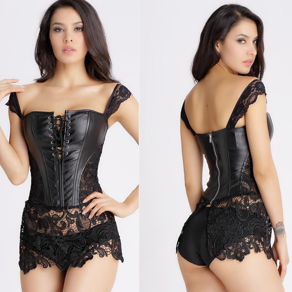 Faux Leather and Lace Burlesque Bustier Corset - Skullflow
