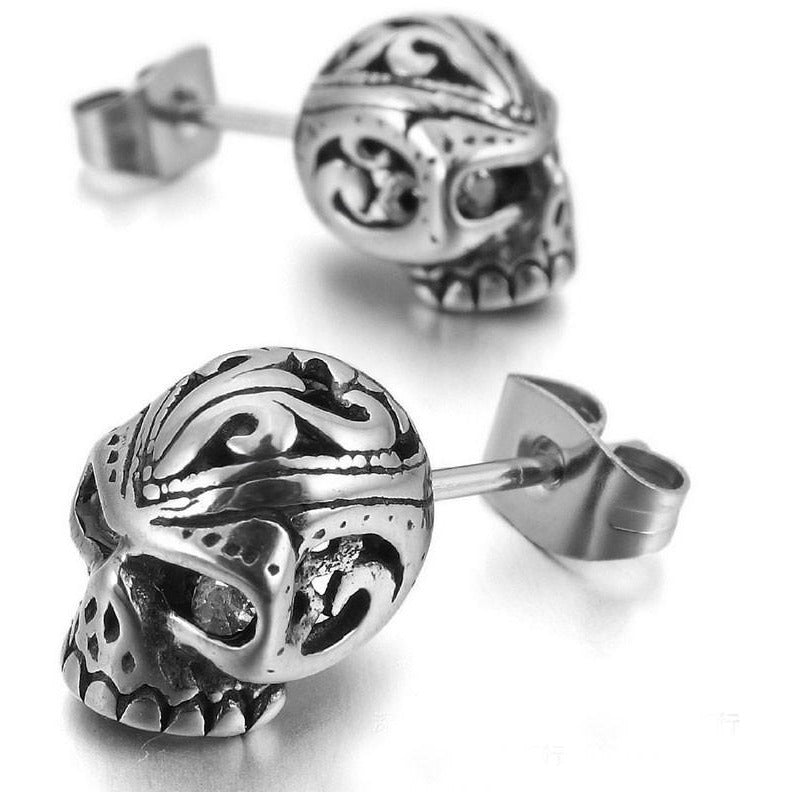Punk Rock Skull Stud Earrings - Skullflow