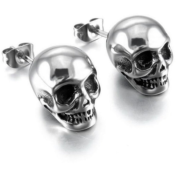 Stainless Steel Skull Stud Earrings Silver