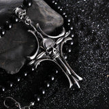 Gothic Black Skull Cross Necklace - Skullflow