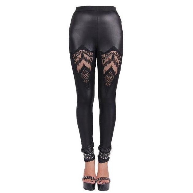Black Gothic High Waist Lace Leggings - Skullflow