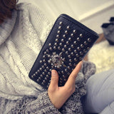 Designer Leather Vintage Skull And Rivet Clutch Bag - Skullflow