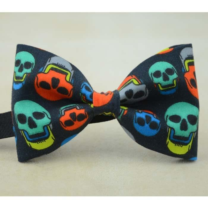 Unisex Colored Skull Bow Tie