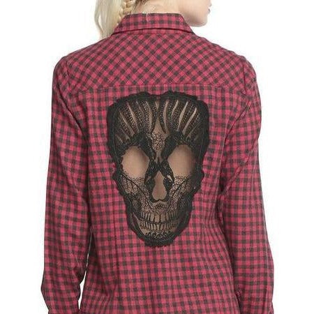 Skull Hollow Out Women Blouses - Skullflow