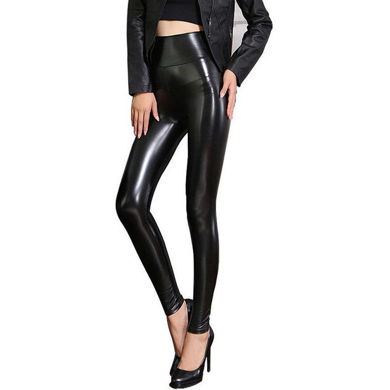 Women's Fleece Black PU Leather Leggings - Skullflow