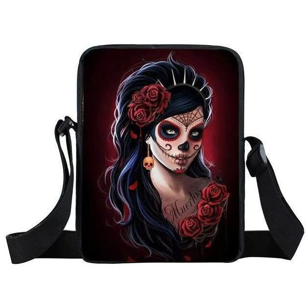 Gothic Skull Girl Mini Messenger Crossbody Bag - Skullflow