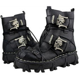 Genuine Leather Gothic Skull Punk Boots - Skullflow