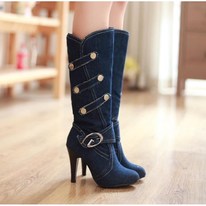 Denim Buckle Knee-High Round Toe Boots