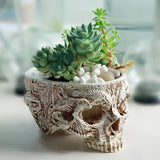 Hand Carved Skull Flower Pot Bowl - Skullflow
