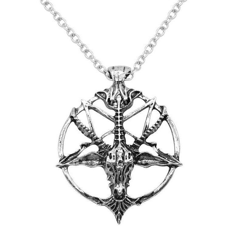 Steampunk Inverted Pentagram Skull Necklaces - Skullflow