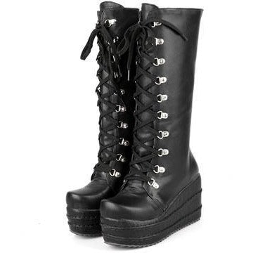 Gothic Knee High Wedge Boots - Skullflow