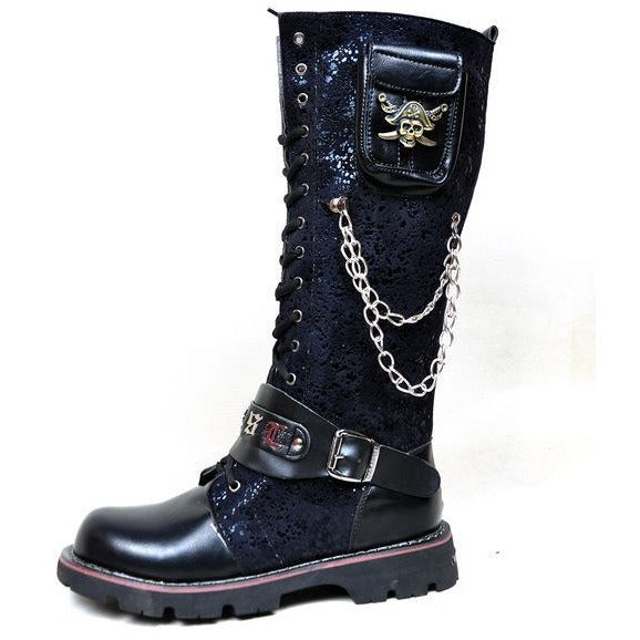 Gothic Leather Metal Buckle Skull Combat Boots - Skullflow