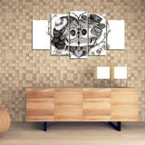 Skull Lovers 5 Pieces Wall Art Canvas Painting - Skullflow