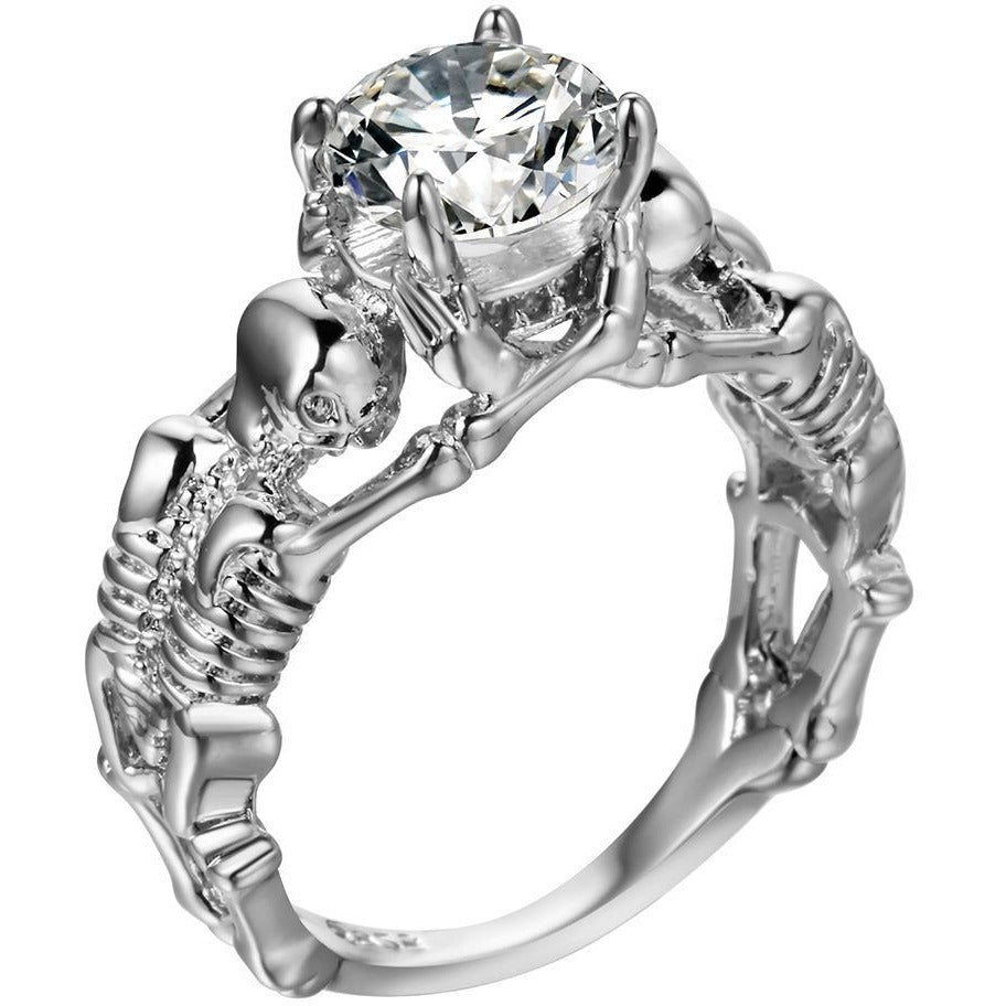 in gallery silver ring product double normal mcqueen metallic lyst crystal skeleton jewelry rings alexander
