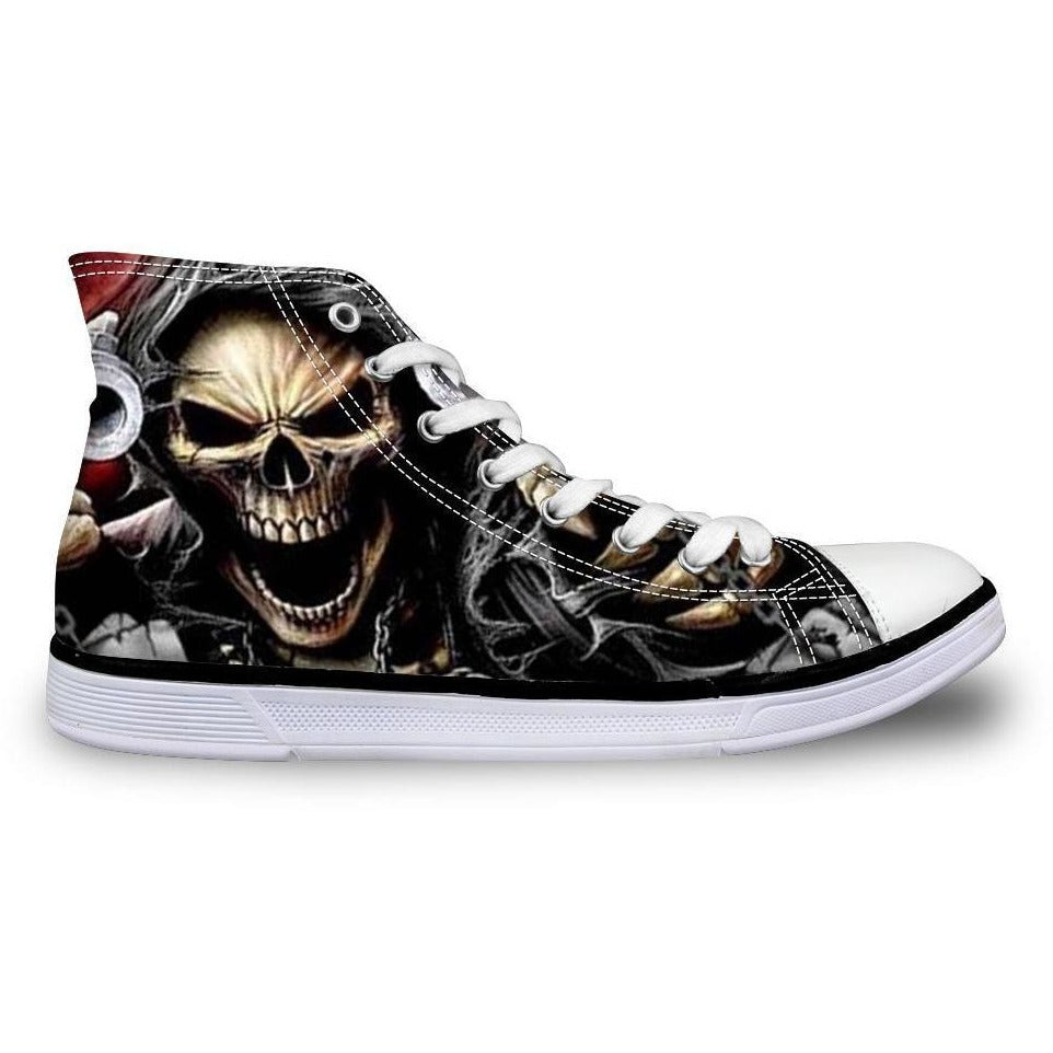 Men's Skull Print High-top Canvas Shoes - Skullflow